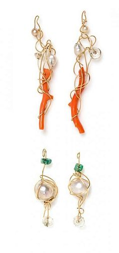 A Collection of Yellow Gold Wire Wrapped Multigem Earring Pendants, Kazuko Oshima, 2.10 dwts.