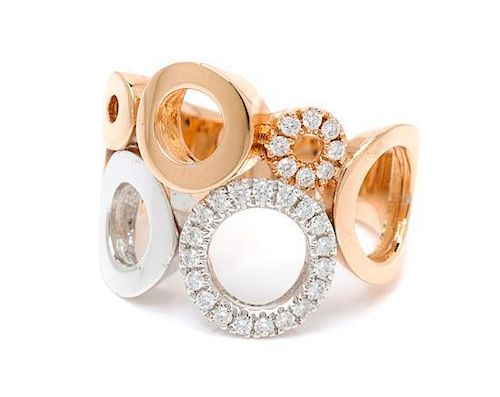 * A Bicolor Gold and Diamond Ring, 7.65 dwts