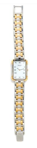 A Stainless Steel and Gold Plated 'Clipper' Wristwatch, Hermes,