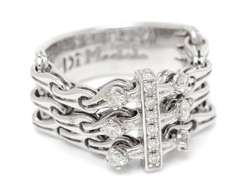 An 18 Karat White Gold and Diamond Mesh Ring, Di Modolo, 8.10 dwts.
