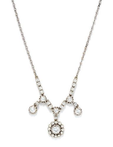 A 14 Karat White Gold and Diamond Necklace, 8.00 dwts.