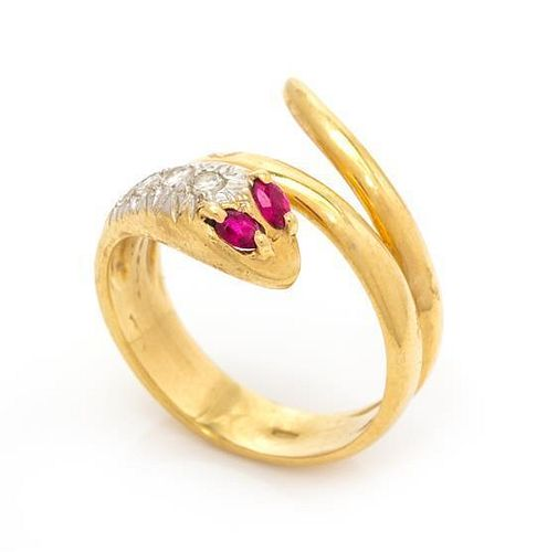 A Yellow Gold, Ruby and Diamond Snake Motif Ring, 3.80 dwts.