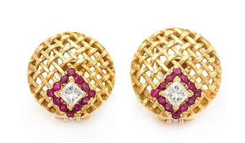 * A Pair of 18 Karat Yellow Gold, Diamond and Ruby Earclips, 8.50 dwts.