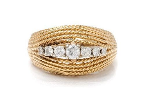 * A Yellow Gold and Diamond Bombe Ring, 7.70 dwts.