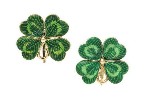 * A Pair of 14 Karat Yellow Gold and Polychrome Enamel Four Leaf Clover Earrings, 4.10 dwts.
