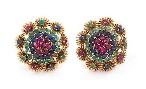 A Pair of 14 Karat Yellow Gold, Ruby, Sapphire, and Dyed Green Chalcedony Cluster Earclips, 10.20 dwts.