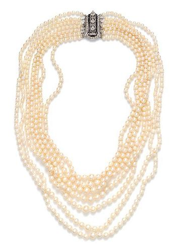 A Platinum, Diamond and Graduated Cultured Pearl Multistrand Necklace,