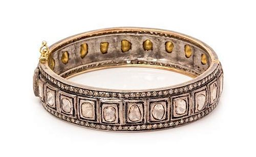 A Gilt Silver and Diamond Bangle Bracelet, Indian, 24.40 dwts.