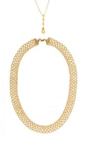 A Collection of 14 Karat Yellow Gold Necklaces, 10.60 dwts.
