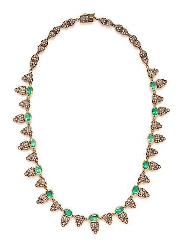A Silver Topped 18 Karat Yellow Gold, Emerald and Diamond Fringe Necklace, 23.90 dwts.