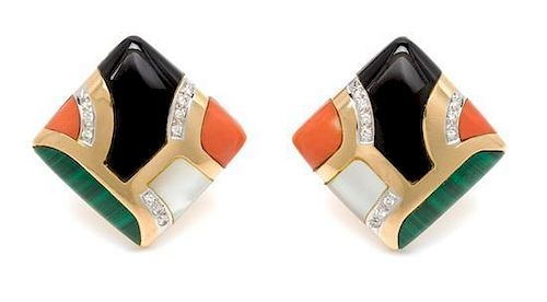 * A Pair of 14 Karat Yellow Gold, Diamond and Multigem Earclips, 11.90 dwts.