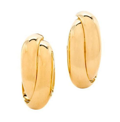 A Pair of 18 Karat Yellow Gold Double Hoop Earclips, 6.20 dwts.