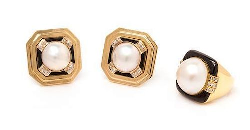* A Collection of Yellow Gold, Mabe Pearl, Onyx and Diamond Jewelry, 30.40 dwts.