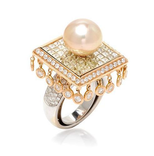 An 18 Karat Bicolor Gold, Pearl, Cultured Golden South Sea Pearl, Diamond and Colored Diamond Ring, 11.80 dwts.