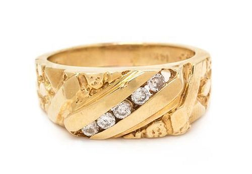 A 14 Karat Yellow Gold and Diamond Ring, 6.70 dwts.