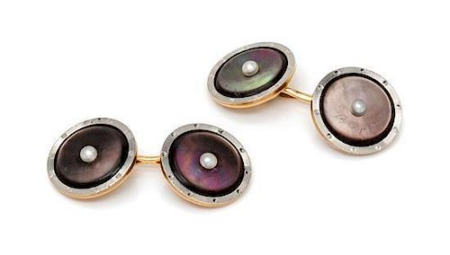 * A Pair of 14 Karat Gold, Mother-of-Pearl and Seed Pearl Cufflinks, 4.10 dwts.