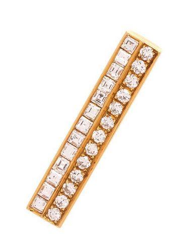 An 18 Karat Yellow Gold and Diamond Bar Brooch, 3.70 dwts.