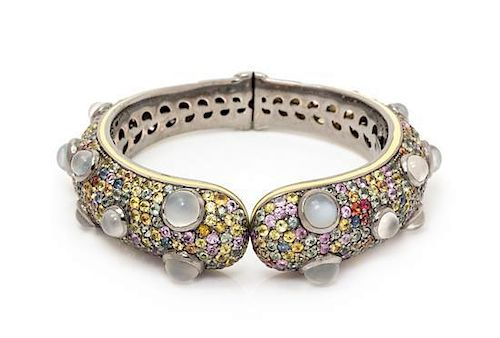* A Black Rhodium Sterling Silver, Moonstone, Multicolored Sapphire and Enamel Hinged Bangle Bracelet, Rina Limor, 47.60 dwts