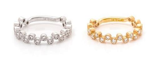 A Collection of 14 Karat Gold and Diamond Stacking Rings, MARS, 2.90 dwts.