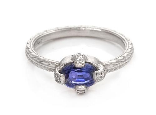 A Platinum, Sapphire and Diamond Ring, 3.00 dwts.