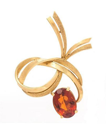 An 18 Karat Yellow Gold and Citrine Brooch, H. Stern, 8.70 dwts.