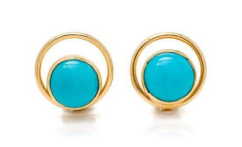 * A Pair of 18 Karat Yellow Gold and Turquoise Earclips, 5.90 dwts.