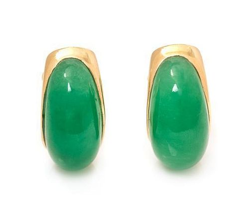 A Pair of 14 Karat Yellow Gold and Jade Earclips, 6.60 dwts.