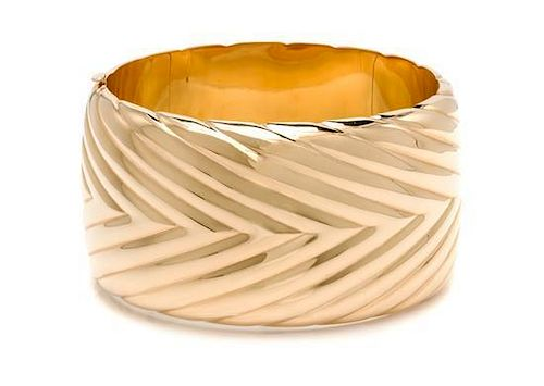 A 14 Karat Yellow Gold Bangle Bracelet, 47.80 dwts.