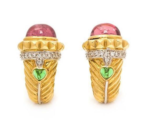 A Pair of 18 Karat Yellow Gold, Pink Tourmaline, Diamond, and Green Glass Earclips, Italian, 19.60 dwts.