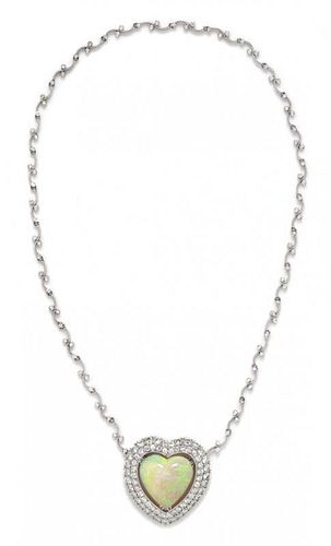 A Convertible White Gold and Diamond Necklace with Opal and Diamond Enhancer, 26.90 dwts.