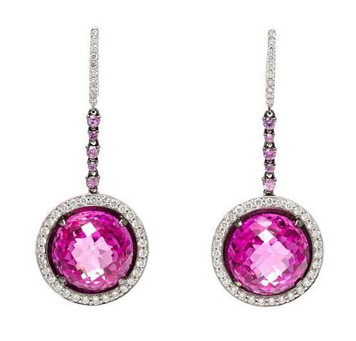A Pair of 18 Karat White Gold, Pink Sapphire and Diamond Dangle Earrings, 10.20 dwts.