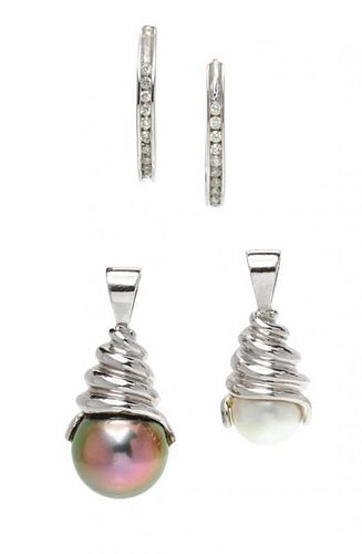 A Collection of White Gold, Diamond and Cultured Pearl Jewelry, 7.30 dwts.