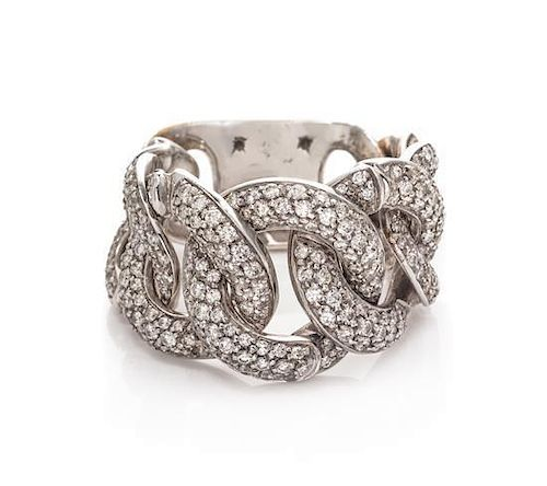 A White Gold and Diamond Chain Link Ring, 10.80 dwts.