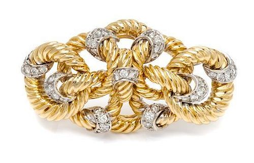 A Bicolor Gold and Diamond Knot Motif Brooch, 17.00 dwts.