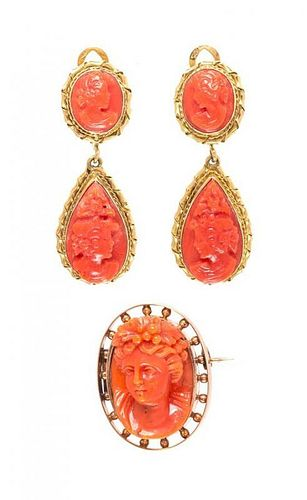 A Collection of Gold and Coral Cameo Jewelry, 11.90 dwts.