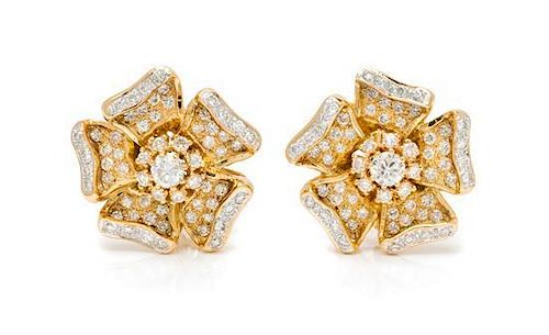 * A Pair of 18 Karat Yellow Gold and Diamond Earrings, 10.50 dwts.