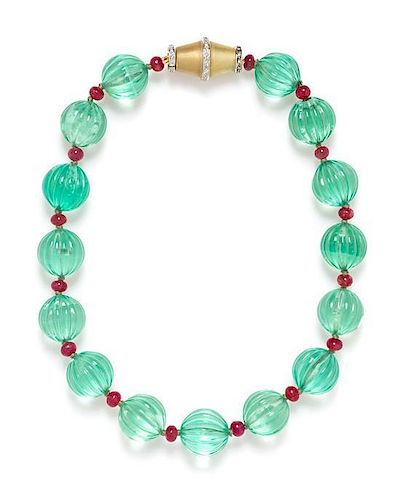A Single Strand Gold, Green Fluorite, Ruby and Diamond Necklace,