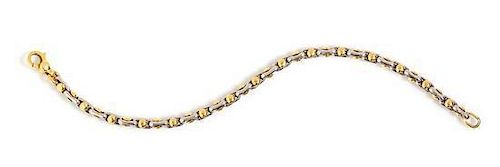 A Platinum and 18 Karat Yellow Gold Bracelet, LePepita, 19.30 dwts.
