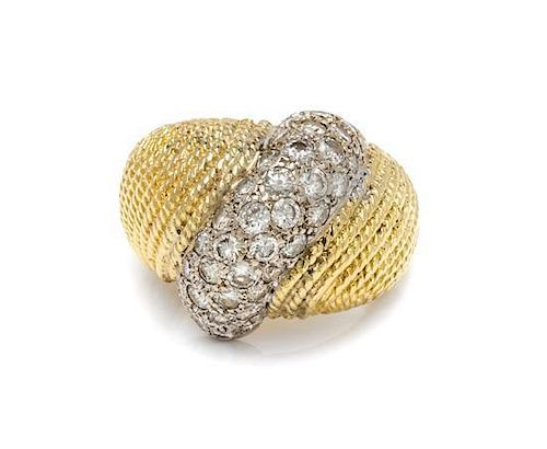 * A Gold and Diamond Bombe Ring, 8.70 dwts.