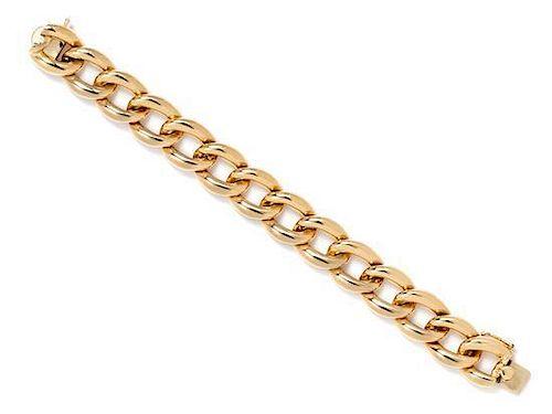 A 14 Karat Yellow Gold Curb Link Bracelet, 36.10 dwts.