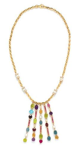 A Yellow Gold and Multigem Fringe Necklace, 51.40 dwts.