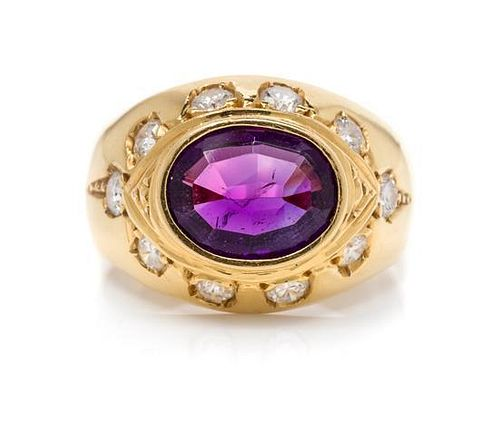 An 18 Karat Yellow Gold, Amethyst and Diamond Ring, H. Stern,