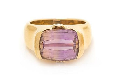 A Yellow Gold, Ametrine and Diamond Ring, 9.8 dwts.