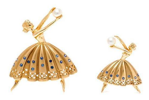 A Pair of Yellow Gold, Sapphire and Cultured Pearl Ballerina Brooches, 18.40 dwts.