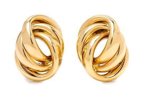 A Pair of 14 Karat Yellow Gold Knot Motif Earclips, German, 8.20 dwts.