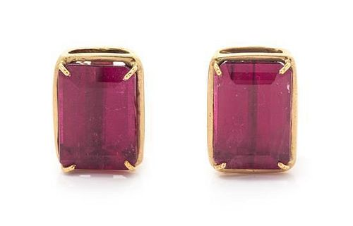 A Pair of Yellow Gold and Pink Tourmaline Earclips, 7.30 dwts.