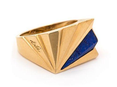 A 14 Karat Yellow Gold Lapis Lazuli Ring, Erte, 5.20 dwts