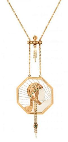 A 14 Karat Yellow Gold, Emerald and Crystal 'Wings of Victory' Pendant Necklace, Erte, 17.40 dwts.