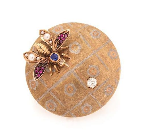 An Antique Bicolor Gold, Ruby, Sapphire, Diamond and Pearl Brooch, 5.40 dwts.