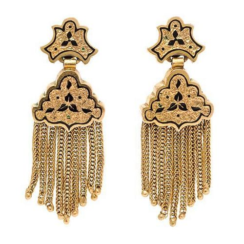 A Pair of Yellow Gold and Enamel Tassel Earclips, 6.80 dwts.